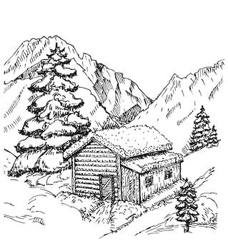Cabine de madeira na ilustração da paisagem do inverno. casa de inverno com neve. natal