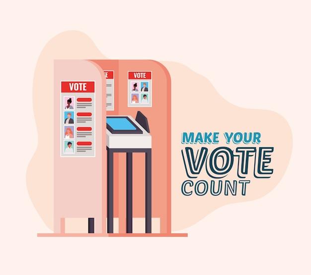 Cabine de votação com design de texto de contagem de votos, tema do dia das eleições.