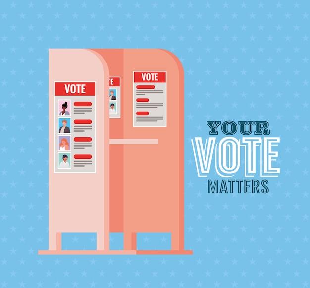 Cabine de votação com seu design de texto de questões de voto, tema do dia das eleições.