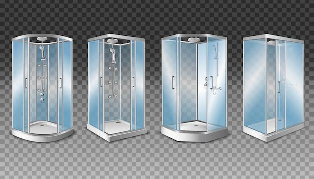 Cabines de chuveiro com portas de vidro transparente e sistema de chuveiro moderno