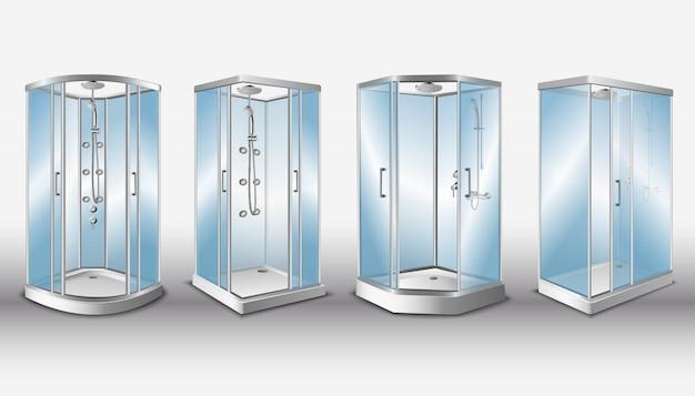 Cabines de duche com portas de vidro transparente e sistema de chuveiro moderno, isolado.