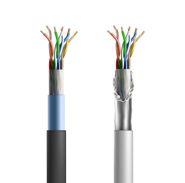 Cabo blindado elétrico com conjunto de fios de cobre