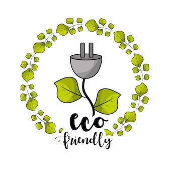 Cabo de alimentação com folhas para cuidados ecológicos