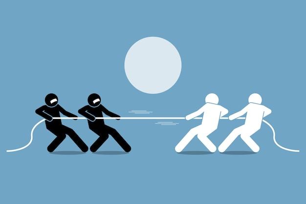 Cabo-de-guerra. conceito de luta pelo poder, competição e oposição.