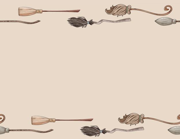 Cabo de vassoura bonito doodles formato de carta padrão sem emenda. fundo de vassouras mágicas de decoração de halloween