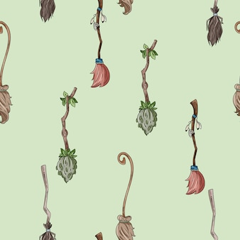 Cabo de vassoura bonito doodles padrão sem emenda para decoração de halloween
