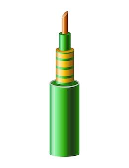 Cabo elétrico de cobre isolado no branco