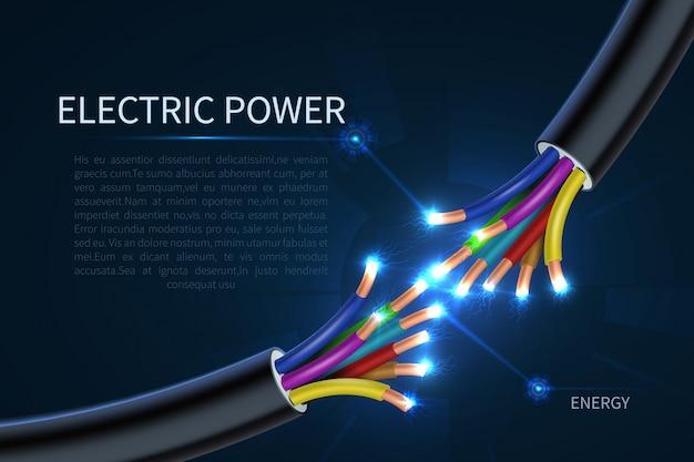 Cabos de energia elétrica, fios elétricos de energia abstraem base industrial
