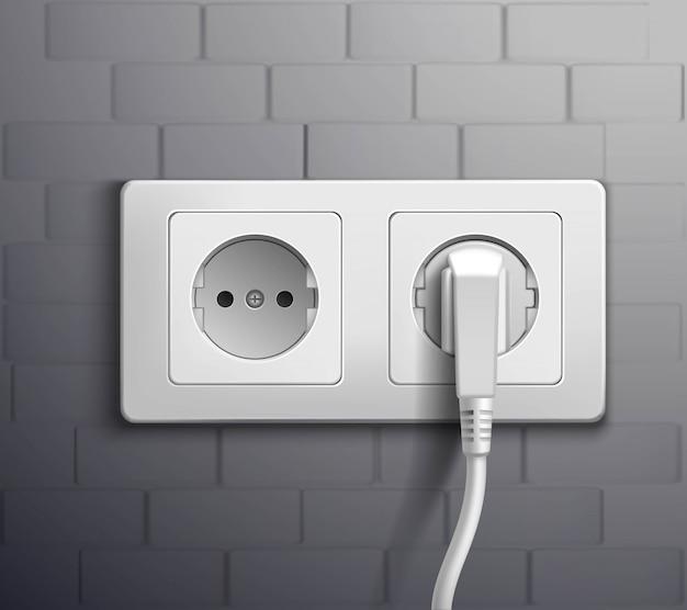 Cabos de tomada elétrica conectados