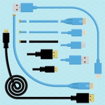 Cabos e conectores. conjunto de elementos de design de escova. conectores usb, dvi, mini usb e mini dvi.