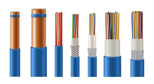 Cabos elétricos e trançados de dados com condutor de cobre, isolamento de metal e plástico realista.