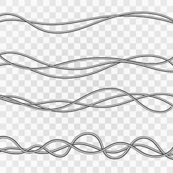 Cabos elétricos. fios industriais cinza. cabo de eletricidade em um fundo transparente.