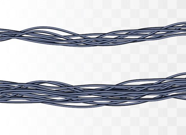 Cabos elétricos. fios industriais cinza realistas.