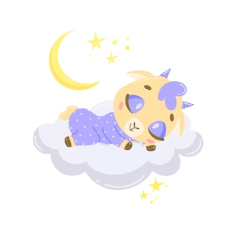 Cabra bonito dos desenhos animados dormindo numa nuvem.