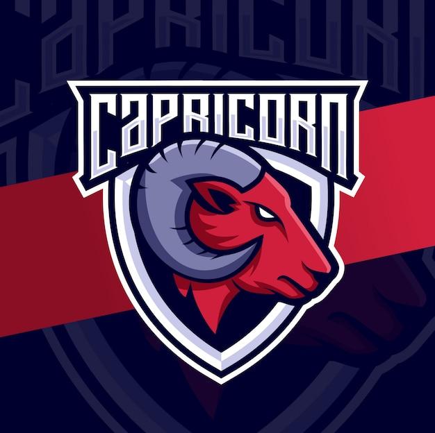 Cabra capricórnio mascote esport design de logotipo