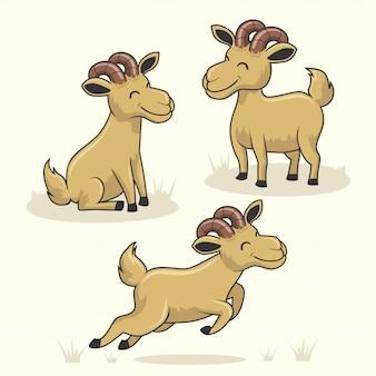 Cabra cartoon animais fofos camurça