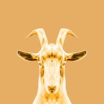 Cabra de arte dourada low poly bonito