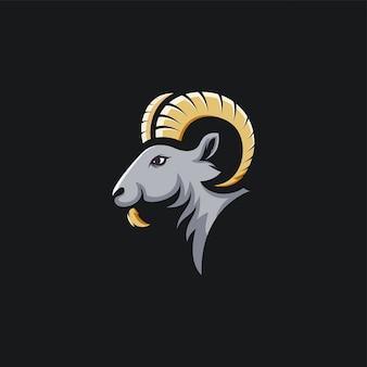 Cabra de cabeça logotipo design ilustração