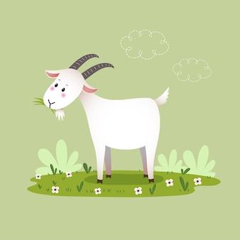 Cabra de desenho animado comendo grama.