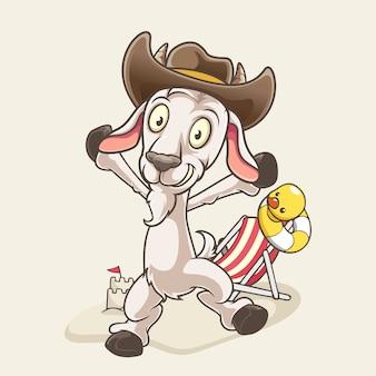 Cabra de desenho animado na praia