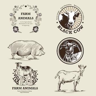 Cabra, ovelha, porco, vaca. ilustração no estilo de gravura.