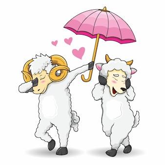 Cabra romântica com personagem de vetor de estilo dab