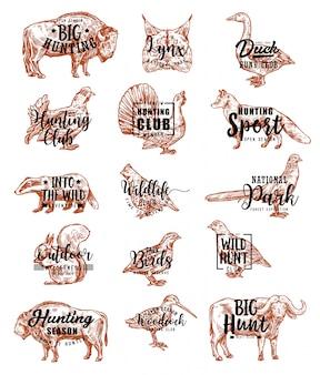 Caça aberta temporada animais e pássaros letras ícones