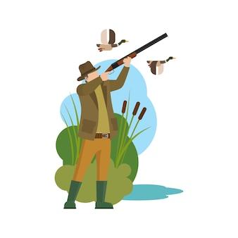 Caça ao pato caçador e presa
