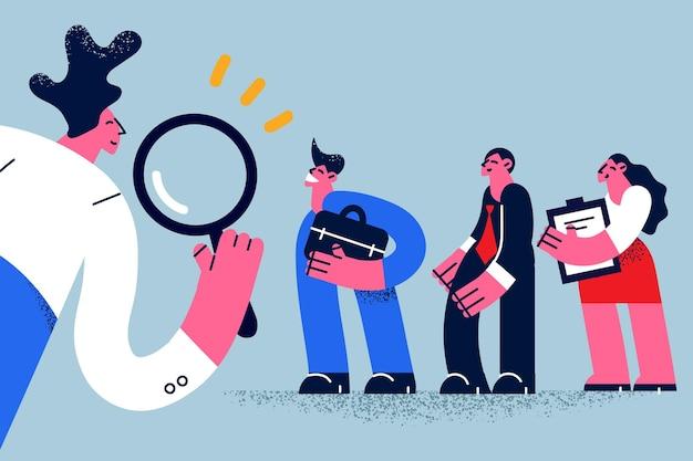 Caça aos recursos humanos escolhendo talentos para o conceito de trabalho