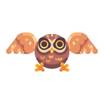 Caça coruja marrom pequeno bonito ícone plana