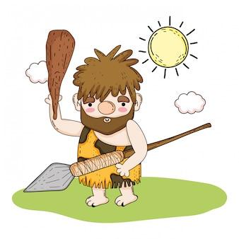 Caça homem primitivo com lança e malho