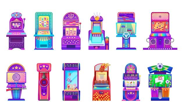 Caça-níqueis cartoon e máquinas de jogos isoladas de fliperama