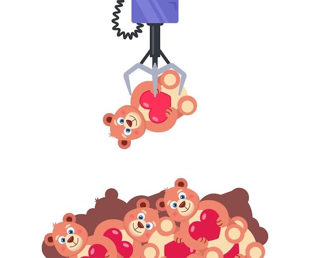 Caça-níqueis com brinquedos. segure o crochê de brinquedo. obtenha o cobiçado prêmio. ilustração vetorial plana.