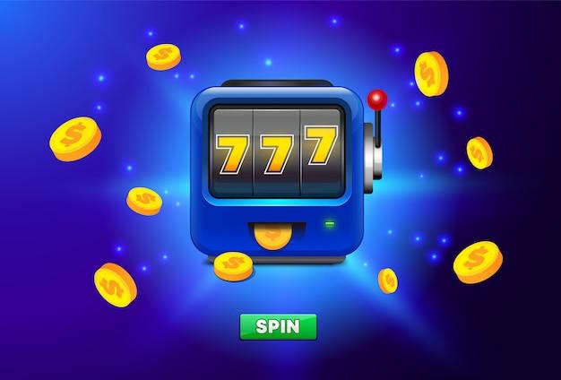 Caça-níqueis isolado sobre fundo azul, com lugar para texto. ícone de caça-níqueis com chuva de moedas de ouro. 777 slot machine.