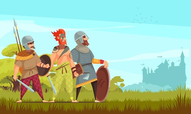 Caçador antigo com armas e animais selvagens planas