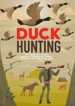 Caçador caça pato com arma ou rifle e cachorro