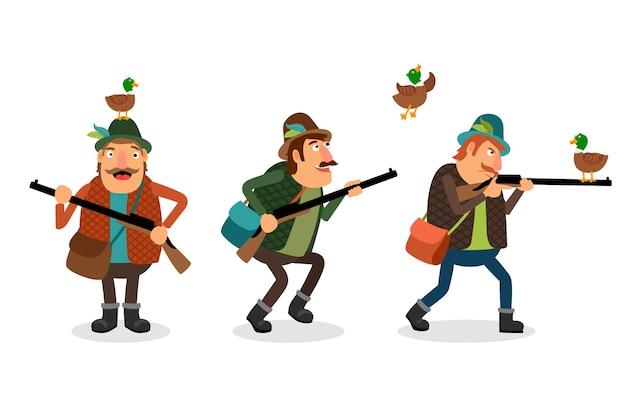 Caçador com arma. arma e espingarda, esporte de caça, pato e atirador