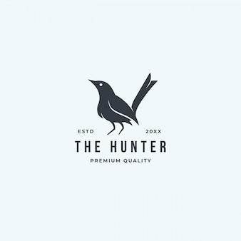 Caçador de logotipo pássaro preto em pé isolado no fundo branco.