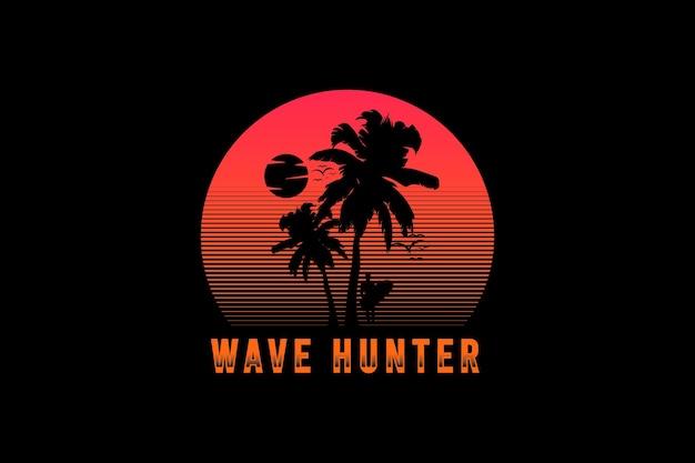 Caçador de ondas, tipografia de maquete de silhueta