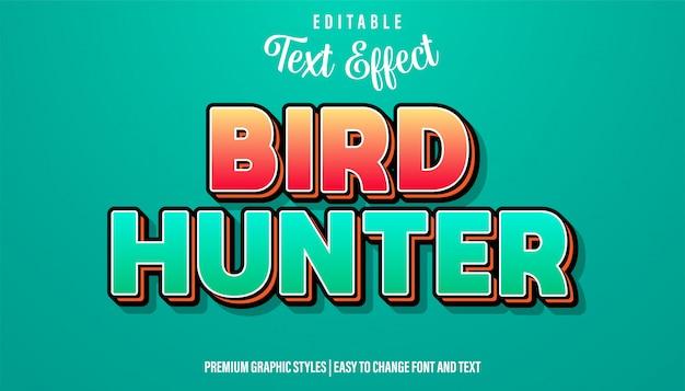 Caçador de pássaros, efeito do texto do estilo do título do jogo