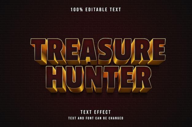 Caçador de tesouros, efeito de texto editável em 3d com gradação vermelha e ouro amarelo estilo de texto em quadrinhos