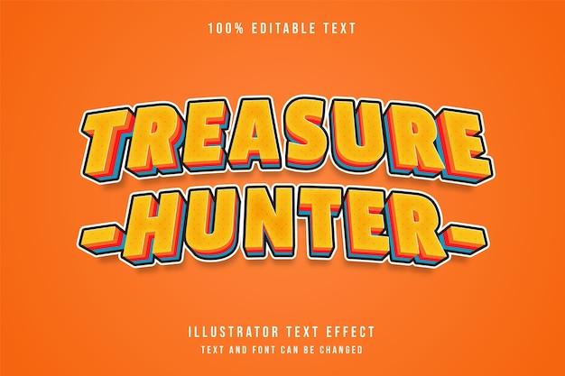 Caçador de tesouros, efeito de texto editável em 3d gradação de laranja estilo de texto sombra em quadrinhos vermelho