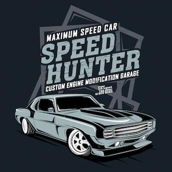Caçador de velocidade, ilustração de um carro rápido clássico