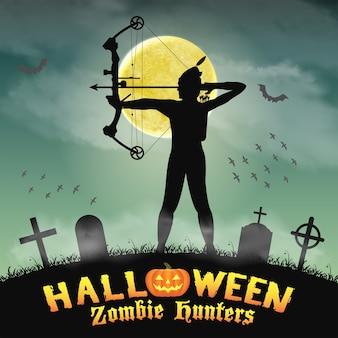 Caçador de zumbis de arqueiro de halloween no cemitério de noite