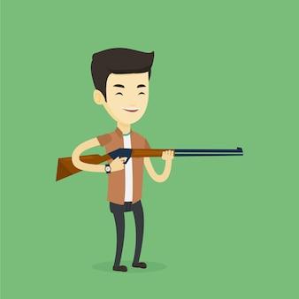 Caçador pronto para caçar com rifle de caça.