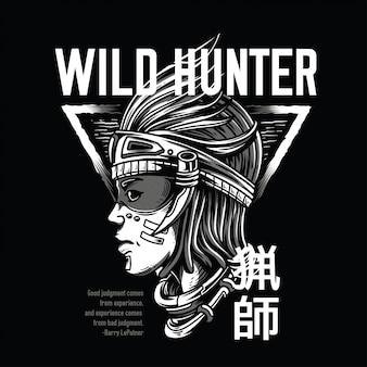 Caçador selvagem preto e branco
