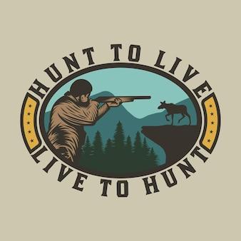 Caçador vintage com arma de caça e emblema de aventura