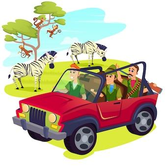 Caçadores usando arma dirigindo jipe no safari