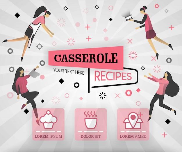 Caçarola produto alimentar e receitas no livro de capa rosa