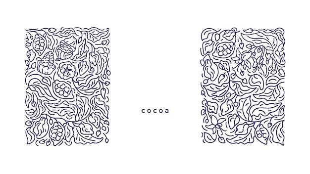 Cacau art line border gráfico ramo monocromático fruta plantação de chocolate